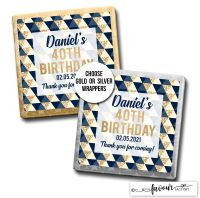 Birthday Chocolates Geo Shapes Navy & Gold x10
