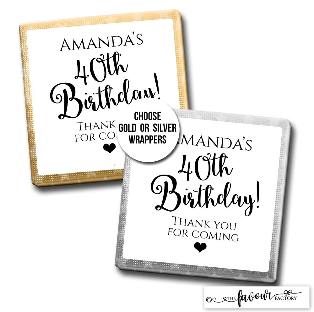 Birthday Favours Chocolates Simply Black And White x10