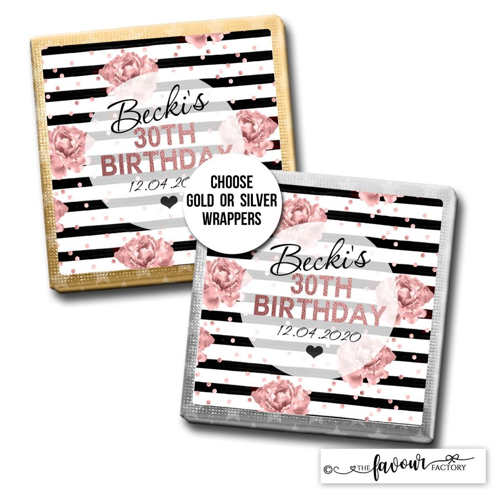 Birthday Chocolates Rose Gold Roses Black Stripes x10