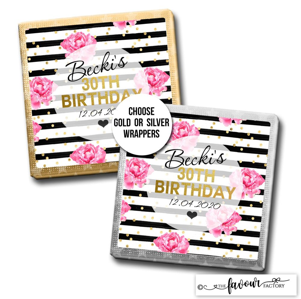 Birthday Chocolates Hot Pink Roses Black Stripes x10