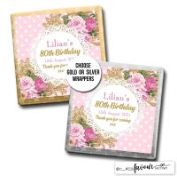 Birthday Favours Chocolates Vintage Ornate Roses x10