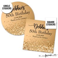 Personalised Happy Birthday Stickers Gold Glitter Sparkles
