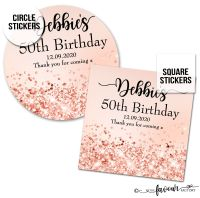 Personalised Happy Birthday Stickers Rose Gold Glitter Sparkles