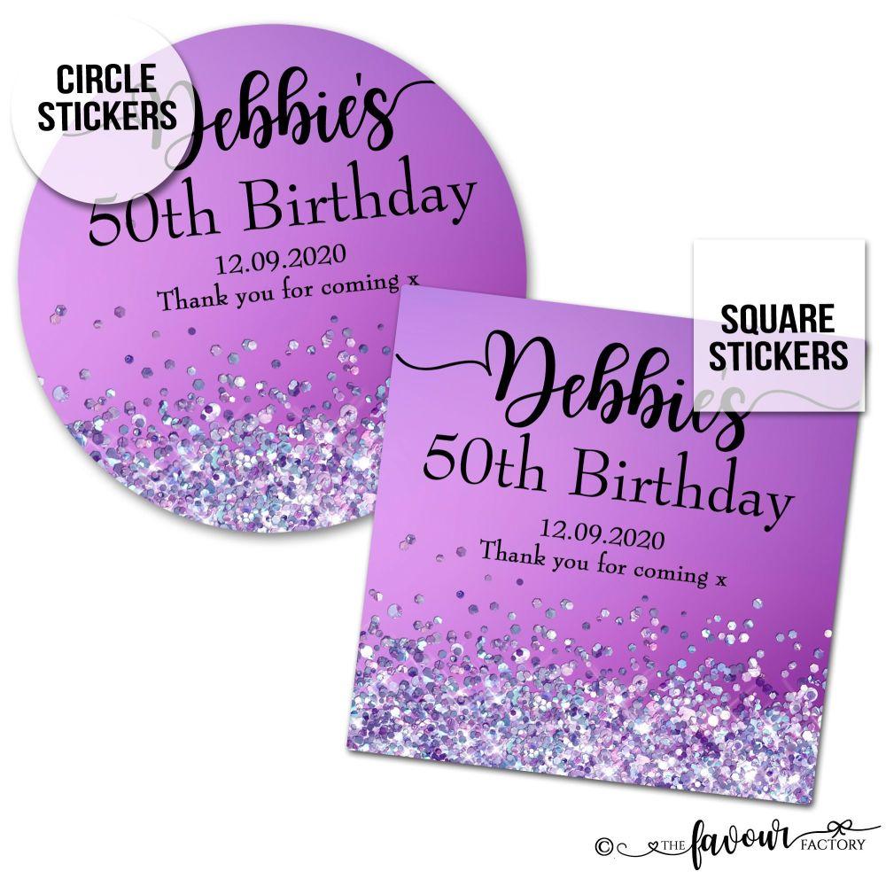 Personalised Happy Birthday Stickers Purple Glitter Sparkles