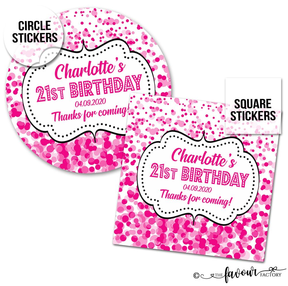 Personalised Birthday Stickers Confetti Pink