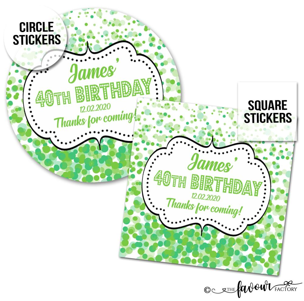 Personalised Birthday Stickers Confetti Green