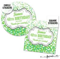 Personalised Birthday Stickers Confetti Green