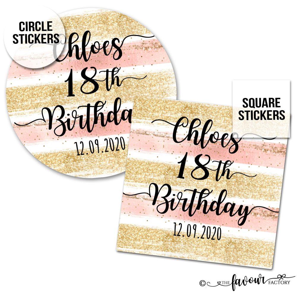 Personalised Happy Birthday Stickers Glitter Brush Strokes