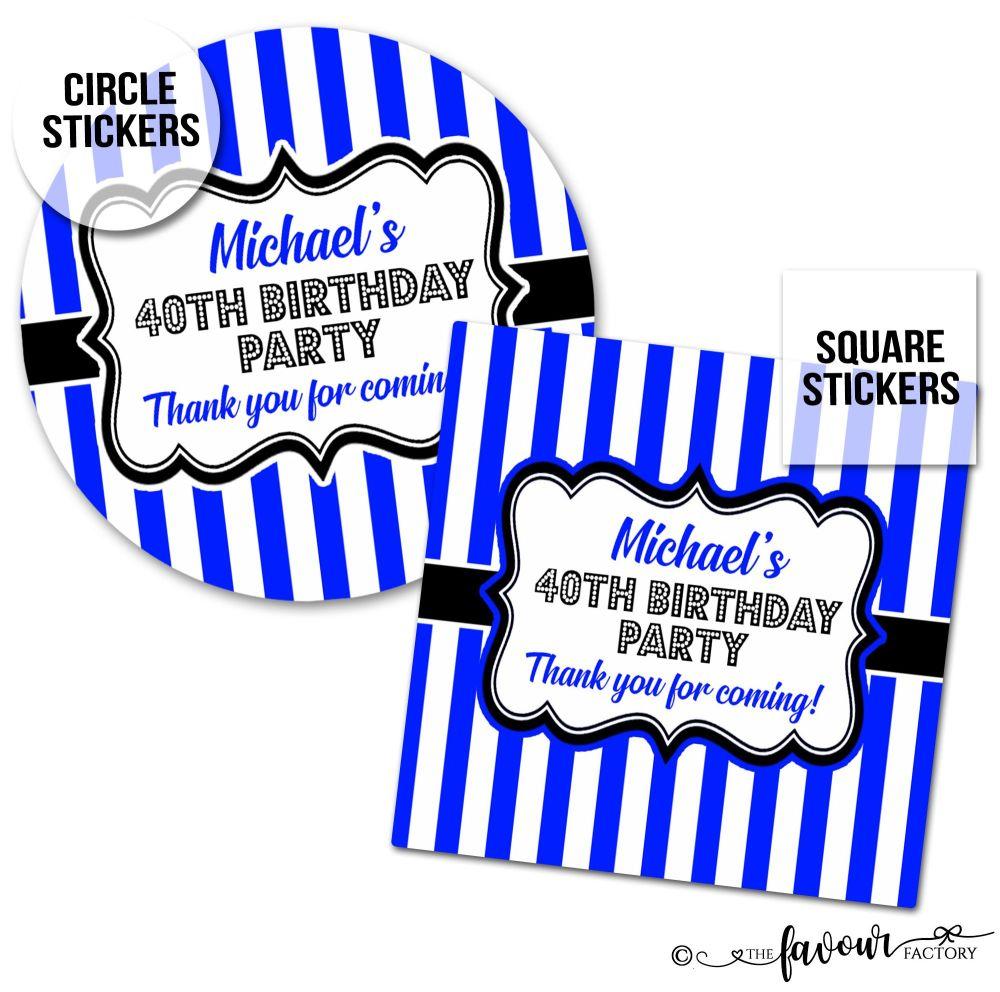Birthday Stickers Blue Stripes