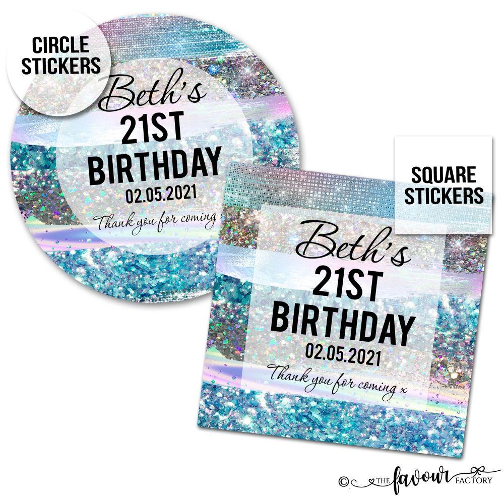 Personalised Happy Birthday Stickers Blue Iridescent Glitter Strokes