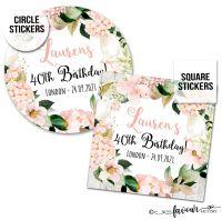 Birthday Stickers Blush Hydrangeas