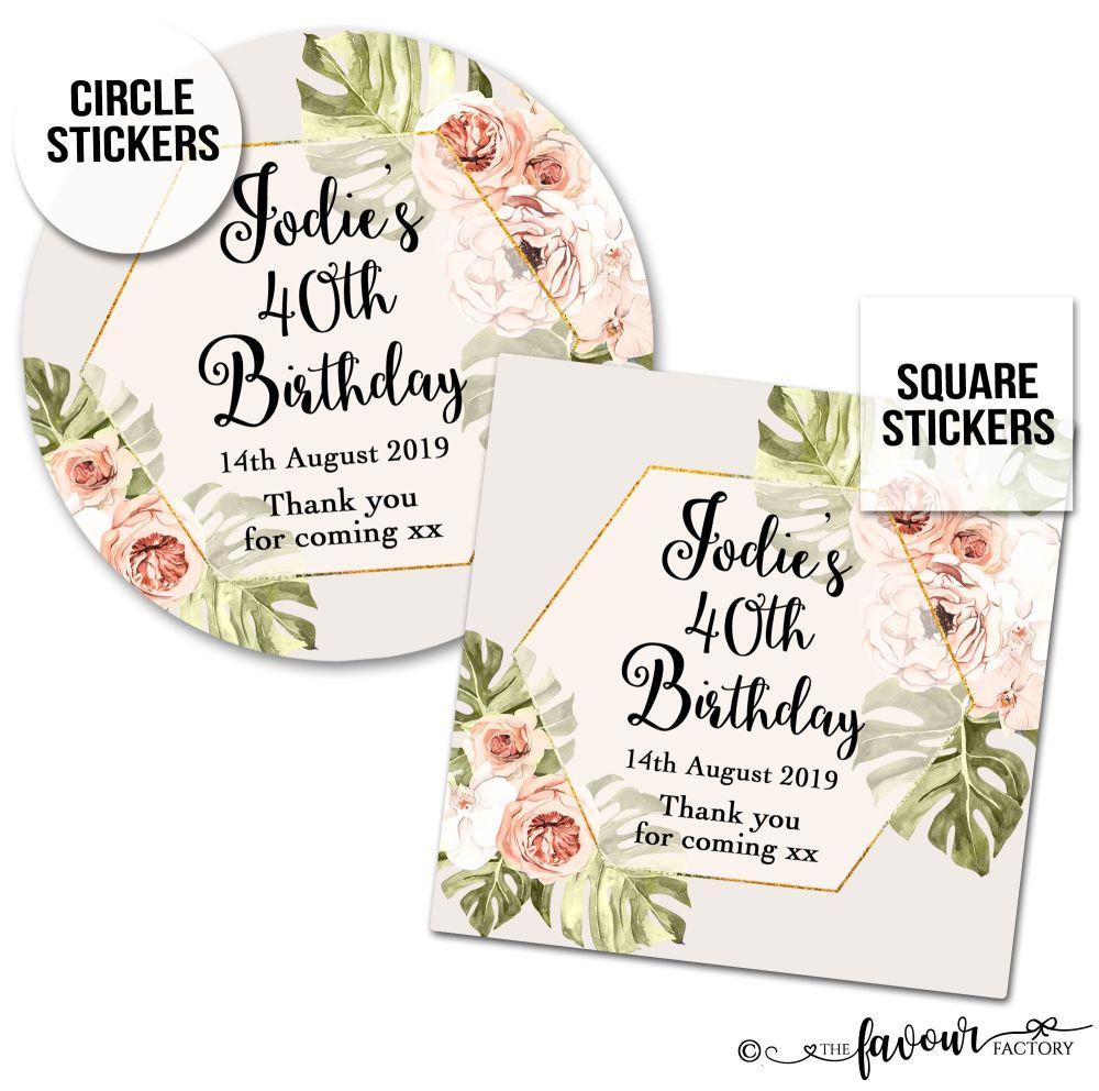 Birthday Stickers Boho Floral Frame