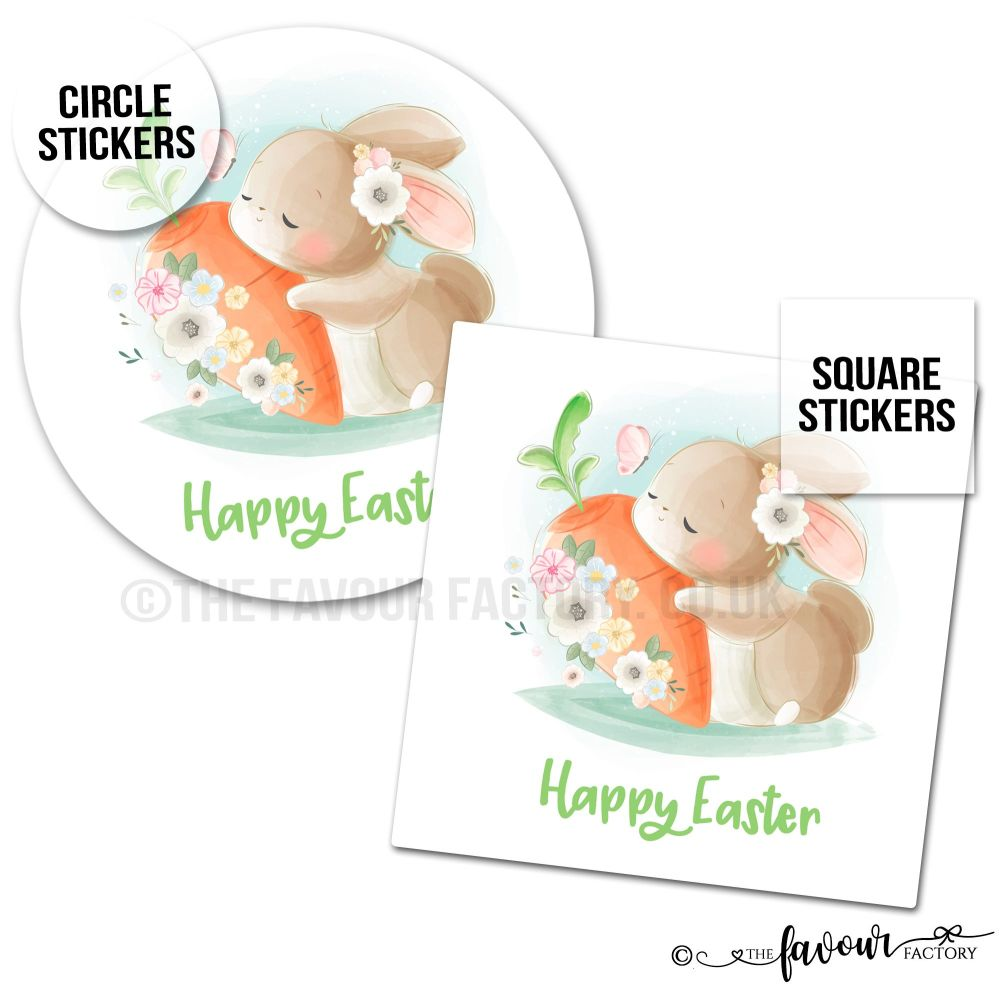Happy Easter Bunny Hugging Carrot Stickers