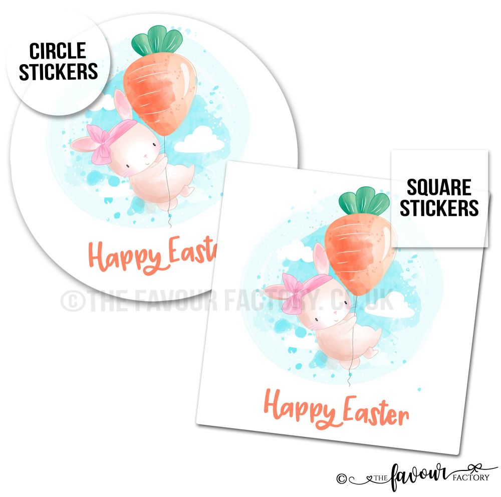 Happy Easter Stickers Bunny With Carrot Balloon