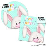 Happy Easter Stickers Big Bunny