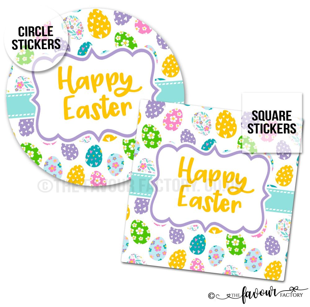Happy Easter Stickers Floral Eggs