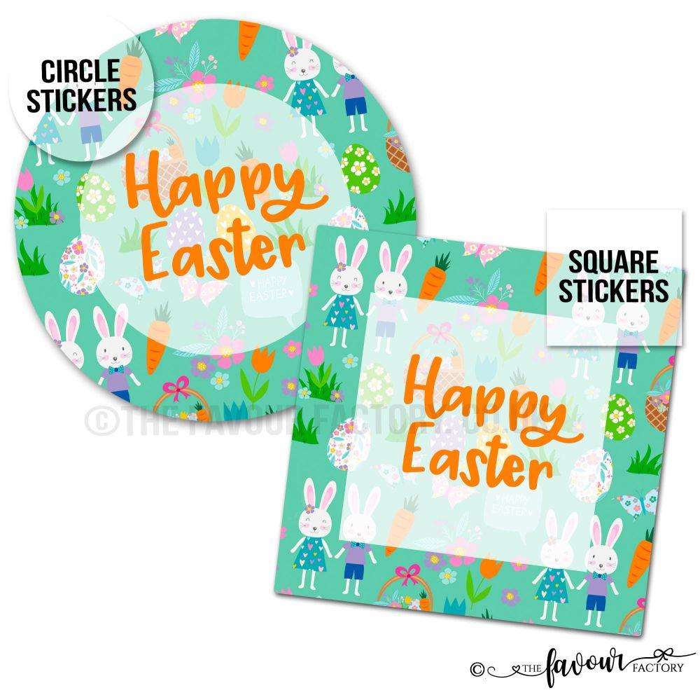 Happy Easter Stickers Bunnies In Garden