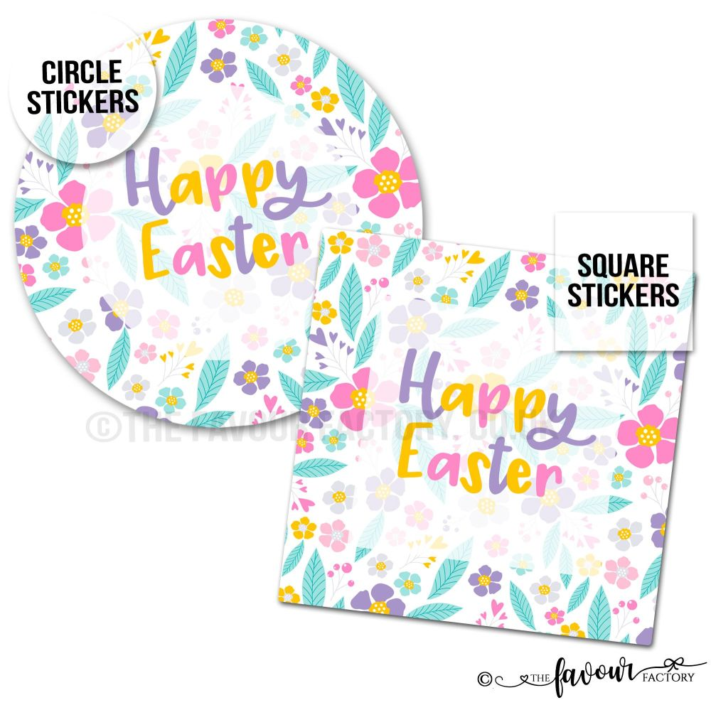 Happy Easter Stickers Florals.