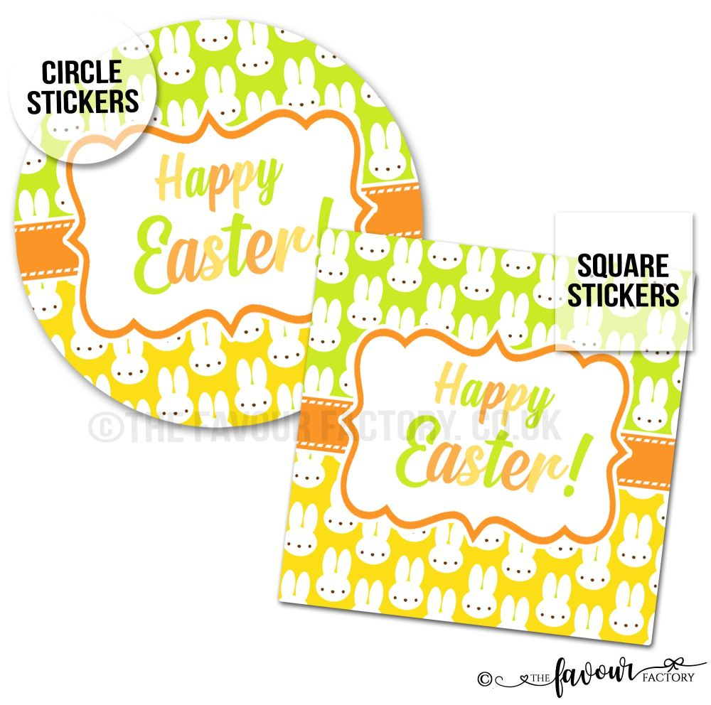 Happy Easter Lots of Bunnies Stickers