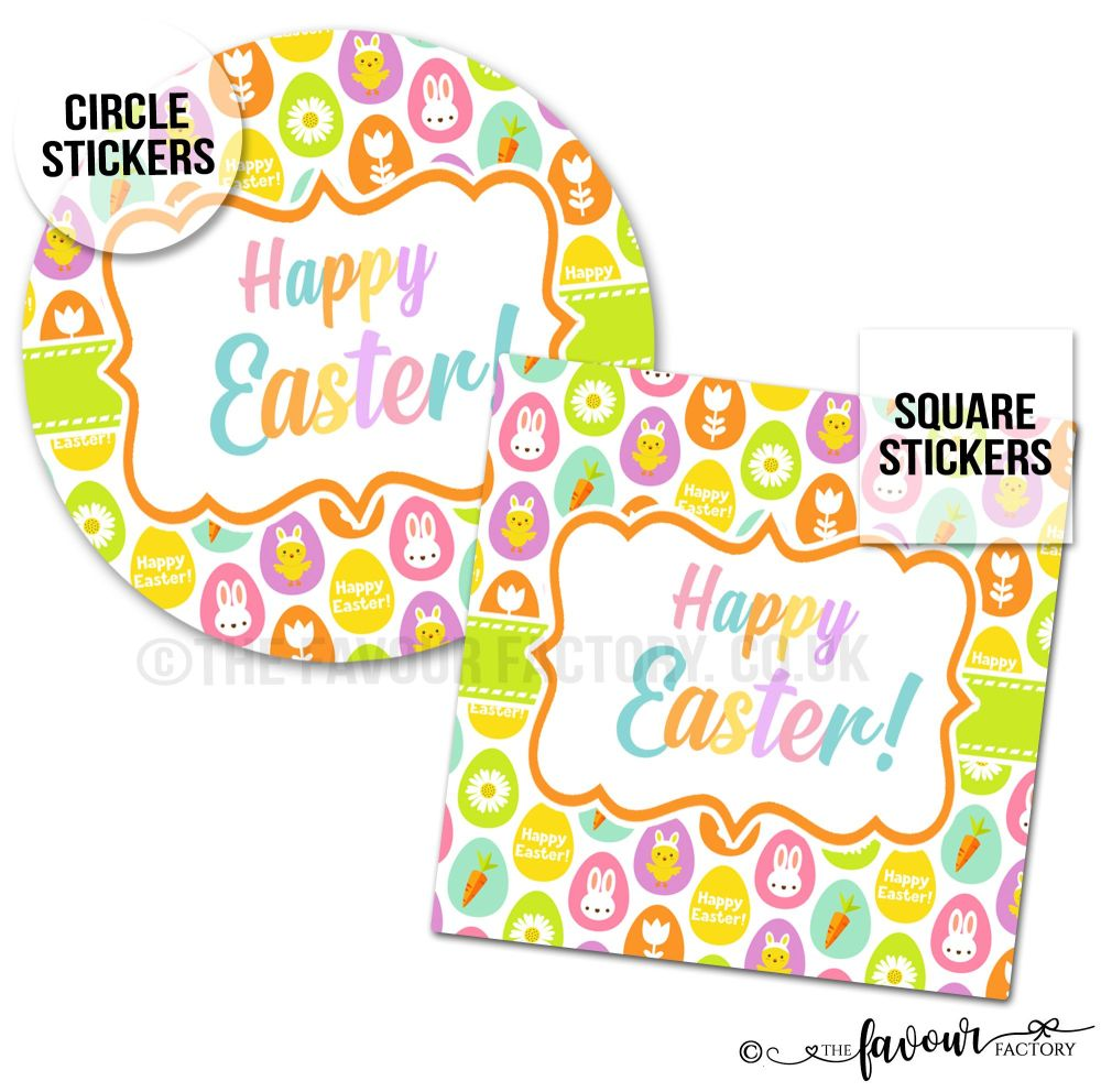 Happy Easter Decorated Eggs Stickers