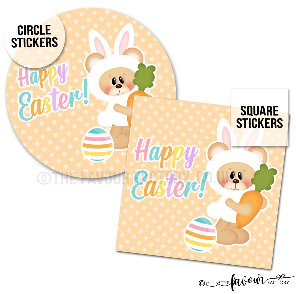 Happy Easter Teddy Bunny with Carrot Easter Stickers