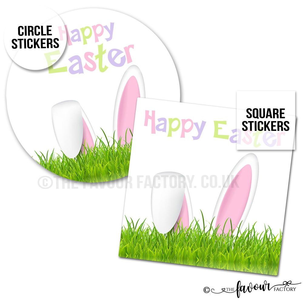 Happy Easter Stickers Bunny In Grass