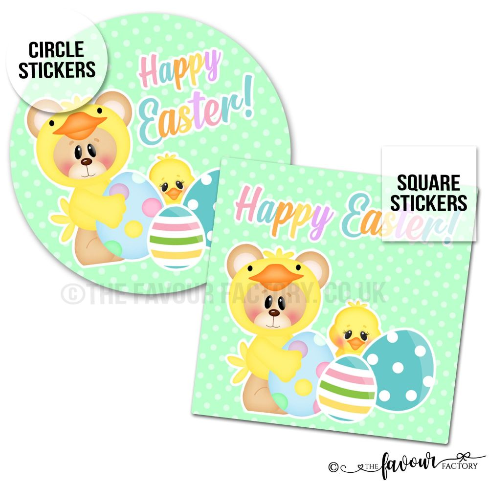 Happy Easter Teddy Chick Stickers