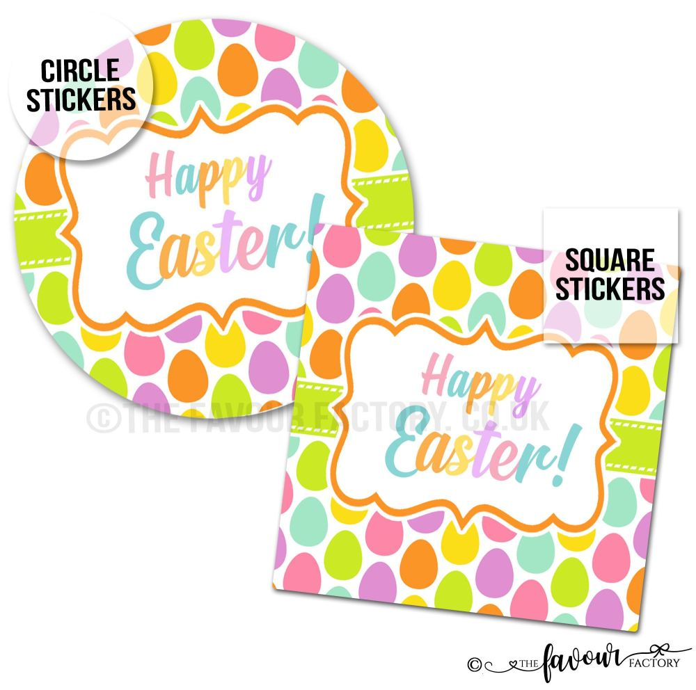Happy Easter Lots of Eggs Easter Stickers