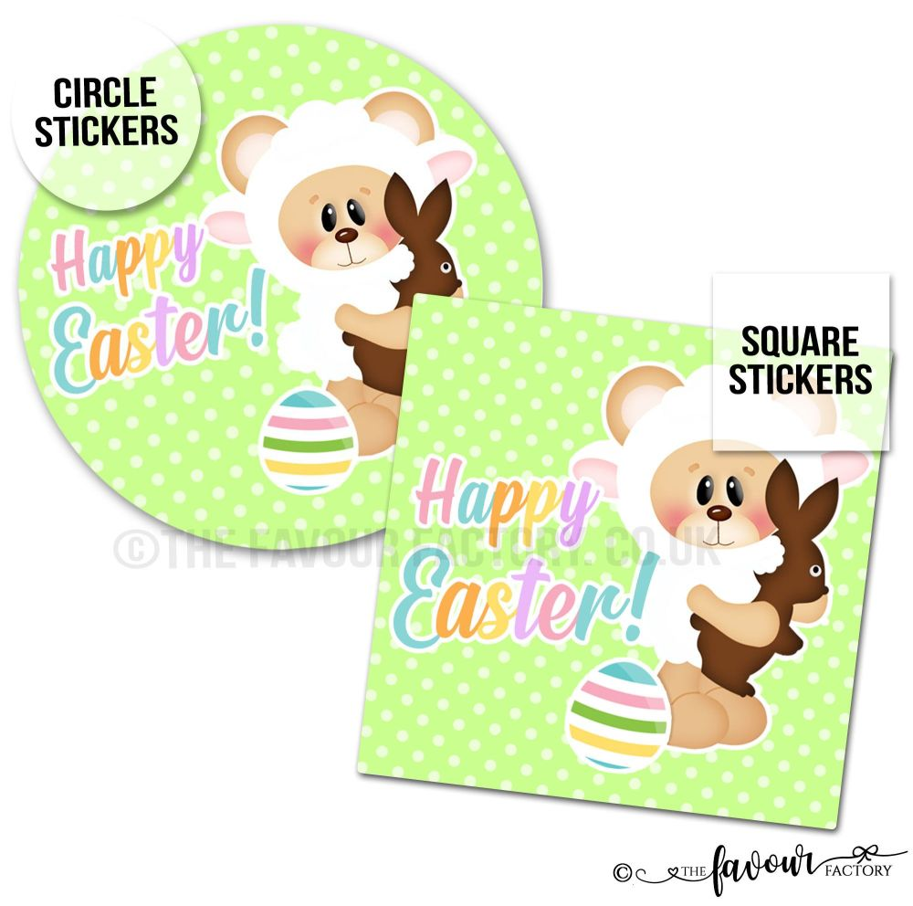 Happy Easter Teddy Lamb with Choc Bunny Stickers
