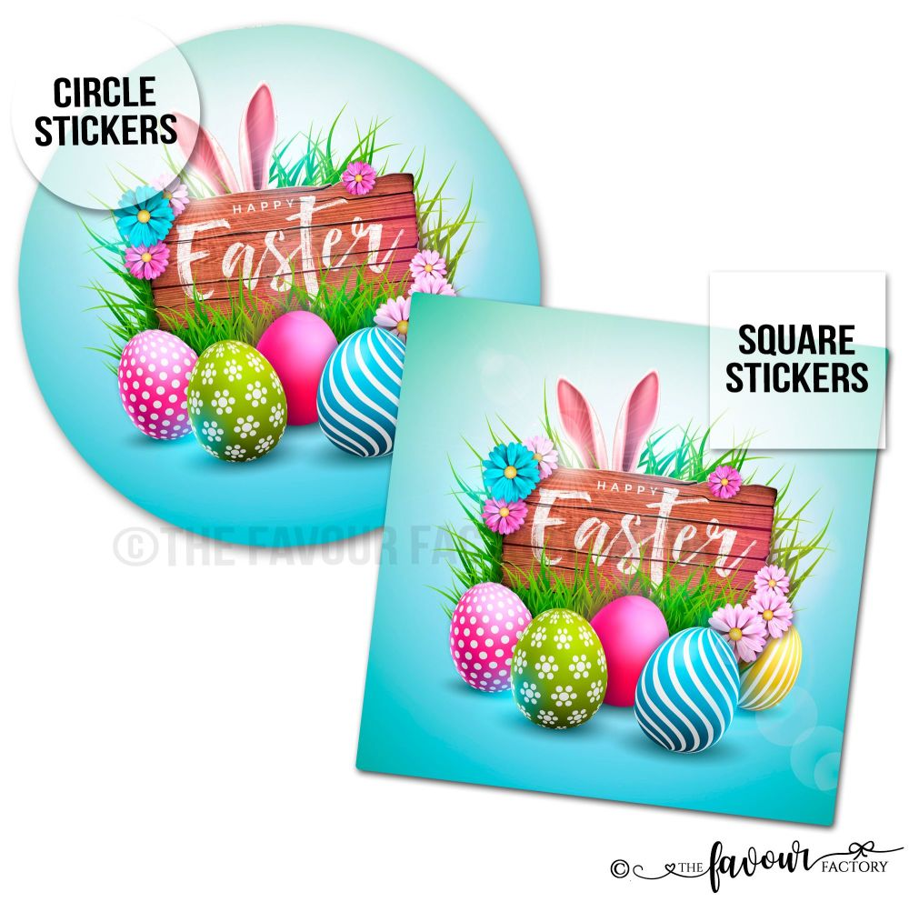 Happy Easter Stickers Bunny And Sign