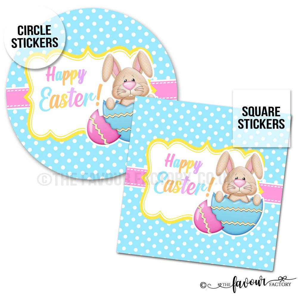 Happy Easter Stickers Bunny In Egg