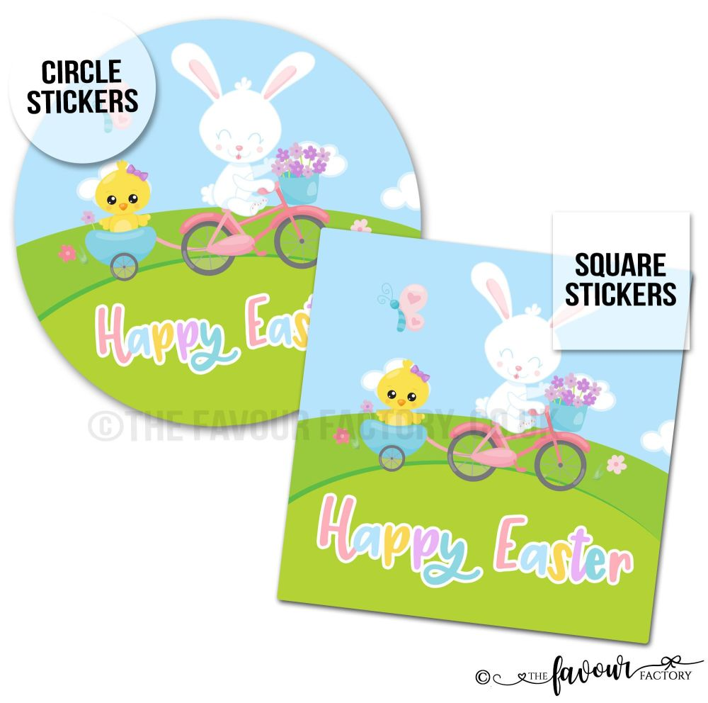 Happy Easter Bunny on Bike with Chick Stickers