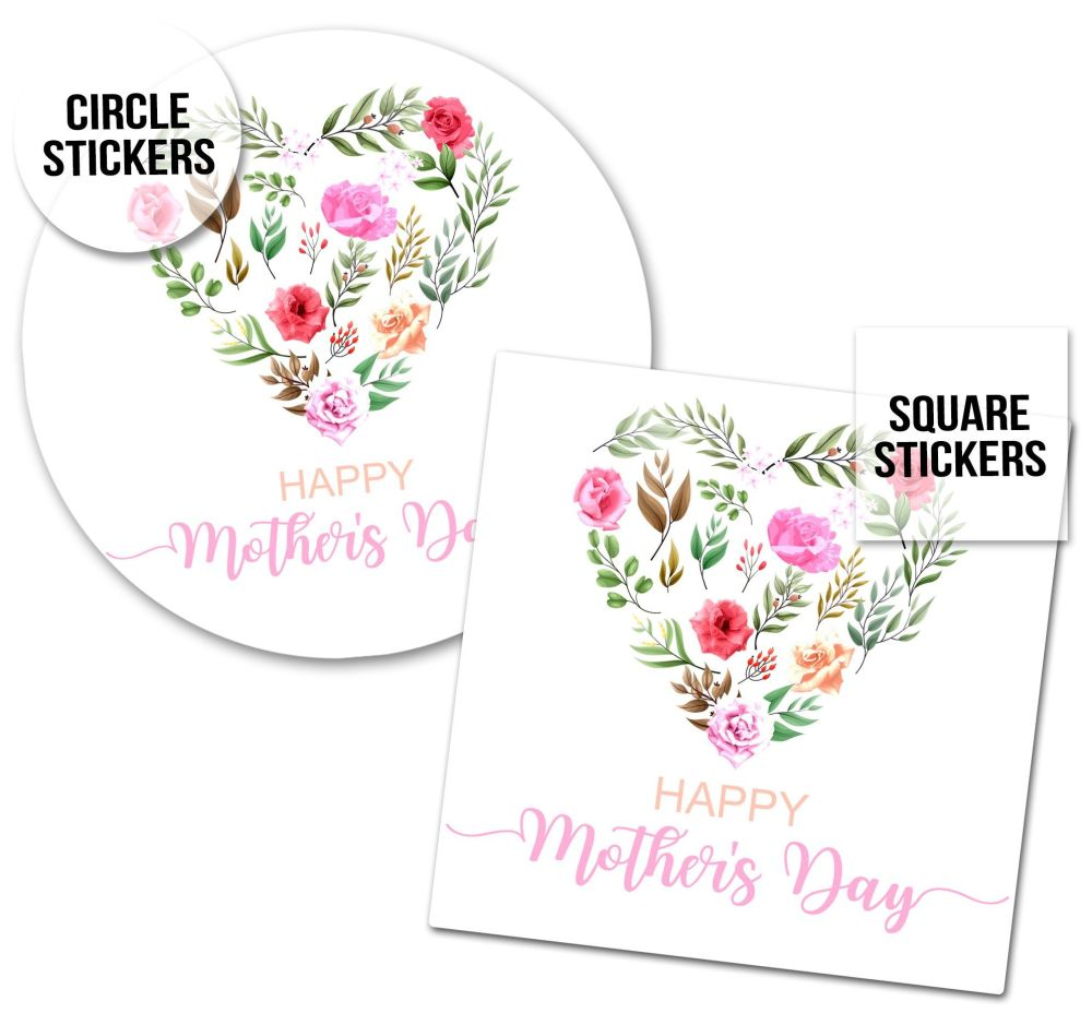 Happy Mother's Day Stickers Floral Heart