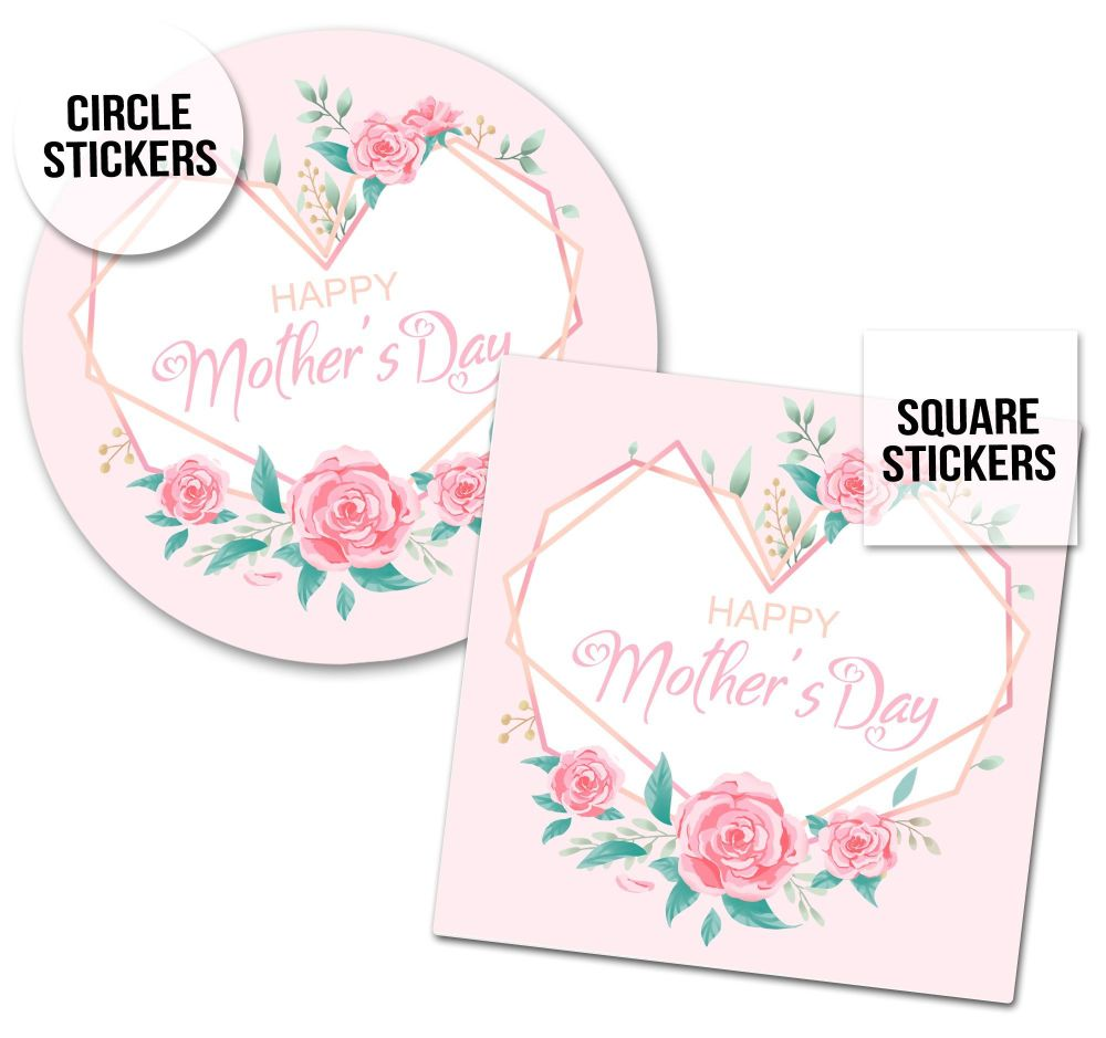 Happy Mother's Day Stickers Geo Floral Heart Frame