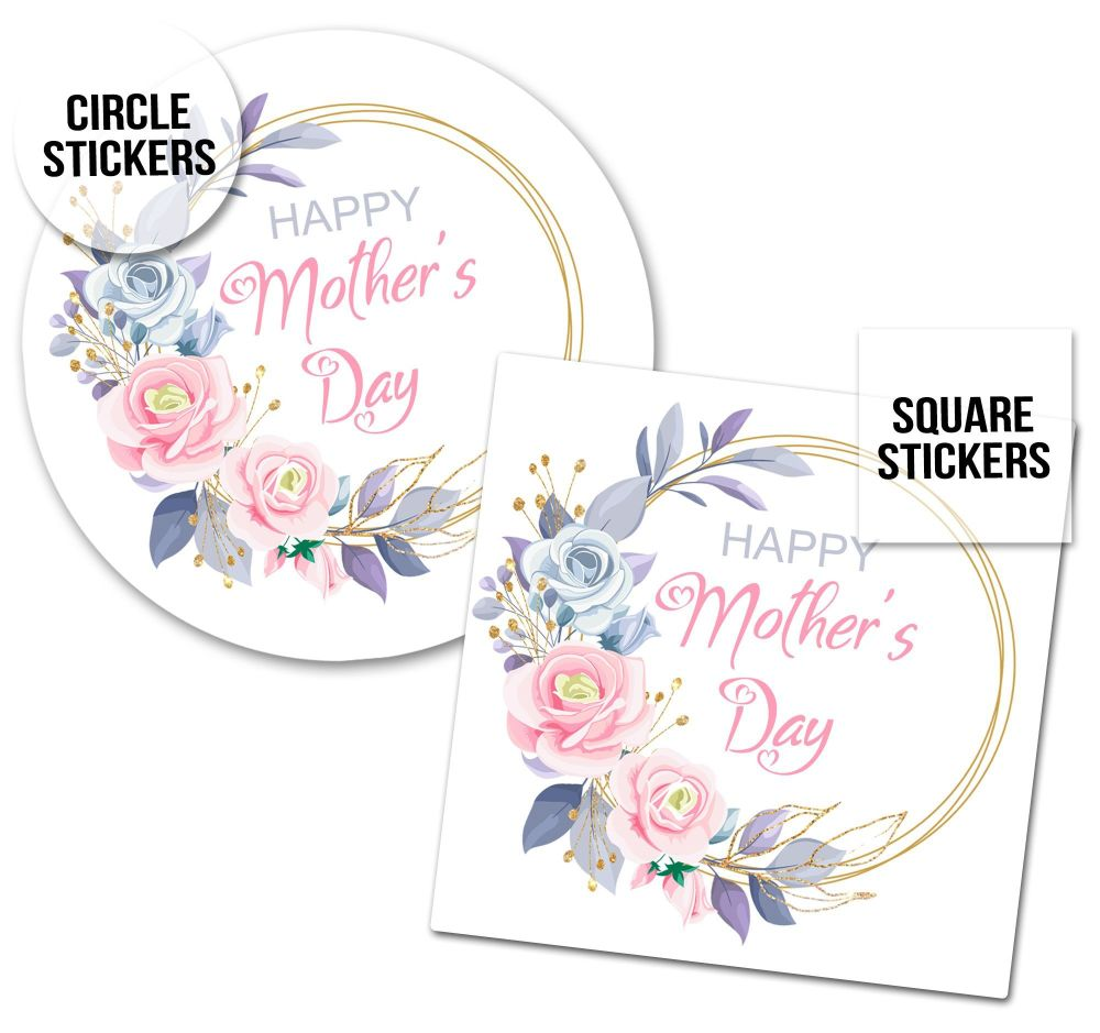 Happy Mother's Day Stickers Gold Glitter Floral Frame