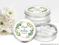 Personalised Wedding Favour Tins Botanical Wreath Gold Dust x1