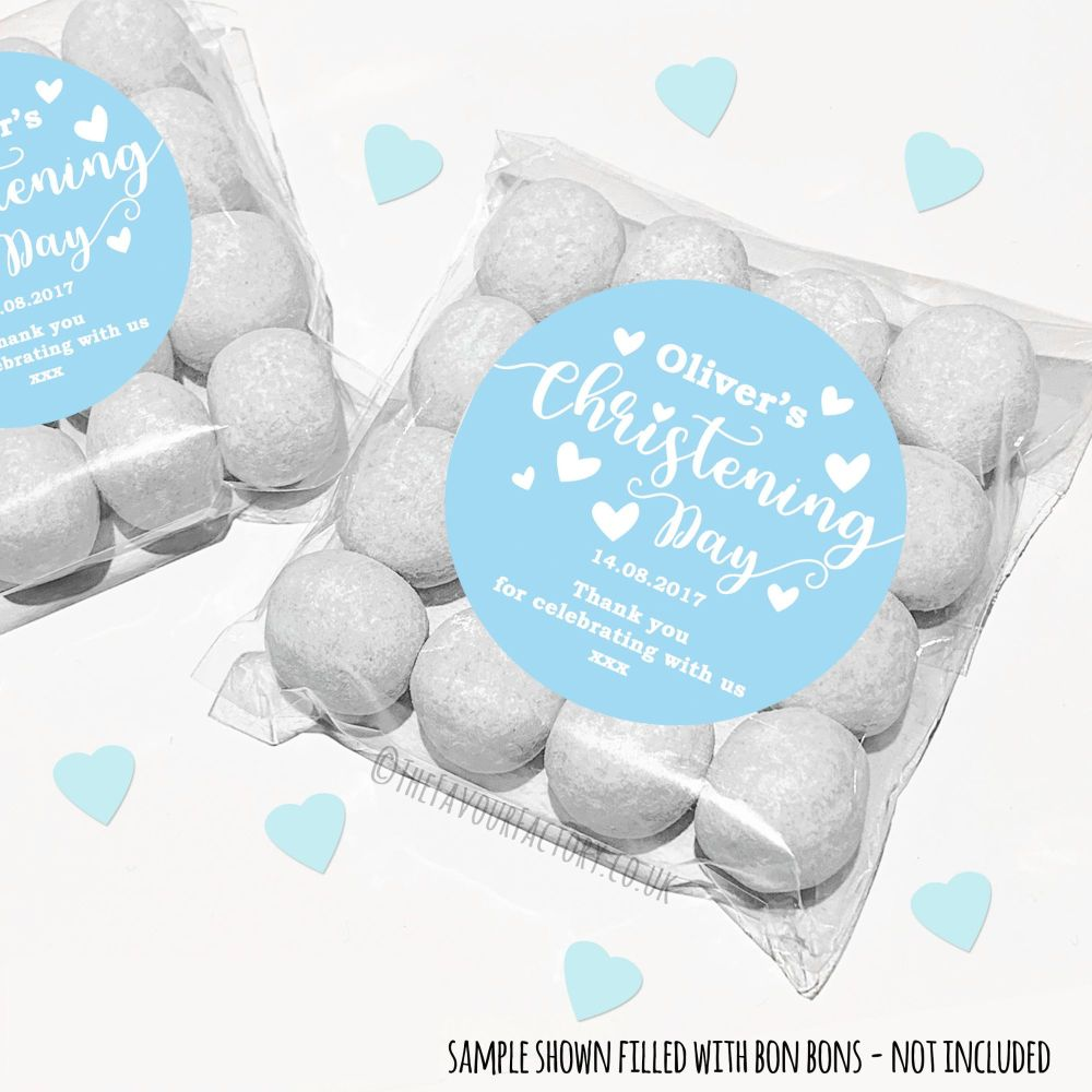 Christening Sweet Bags Kits Personalised Blue Hearts x12