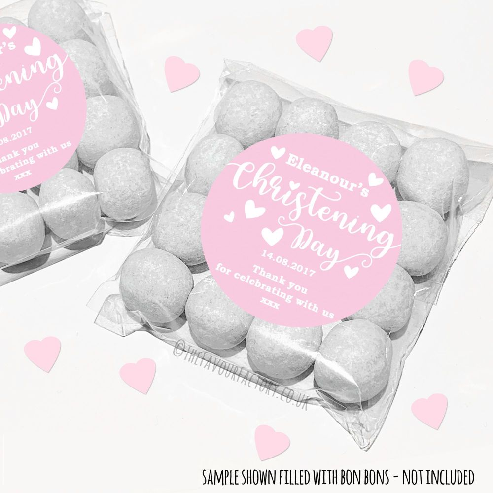 Christening Sweet Bags Kits Personalised Pink Hearts x12