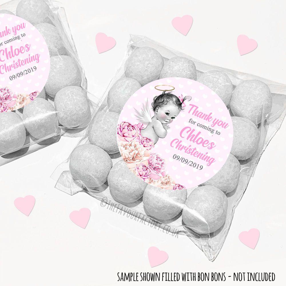 Christening Sweet Bags Kits Personalised Vintage Baby Girl x12