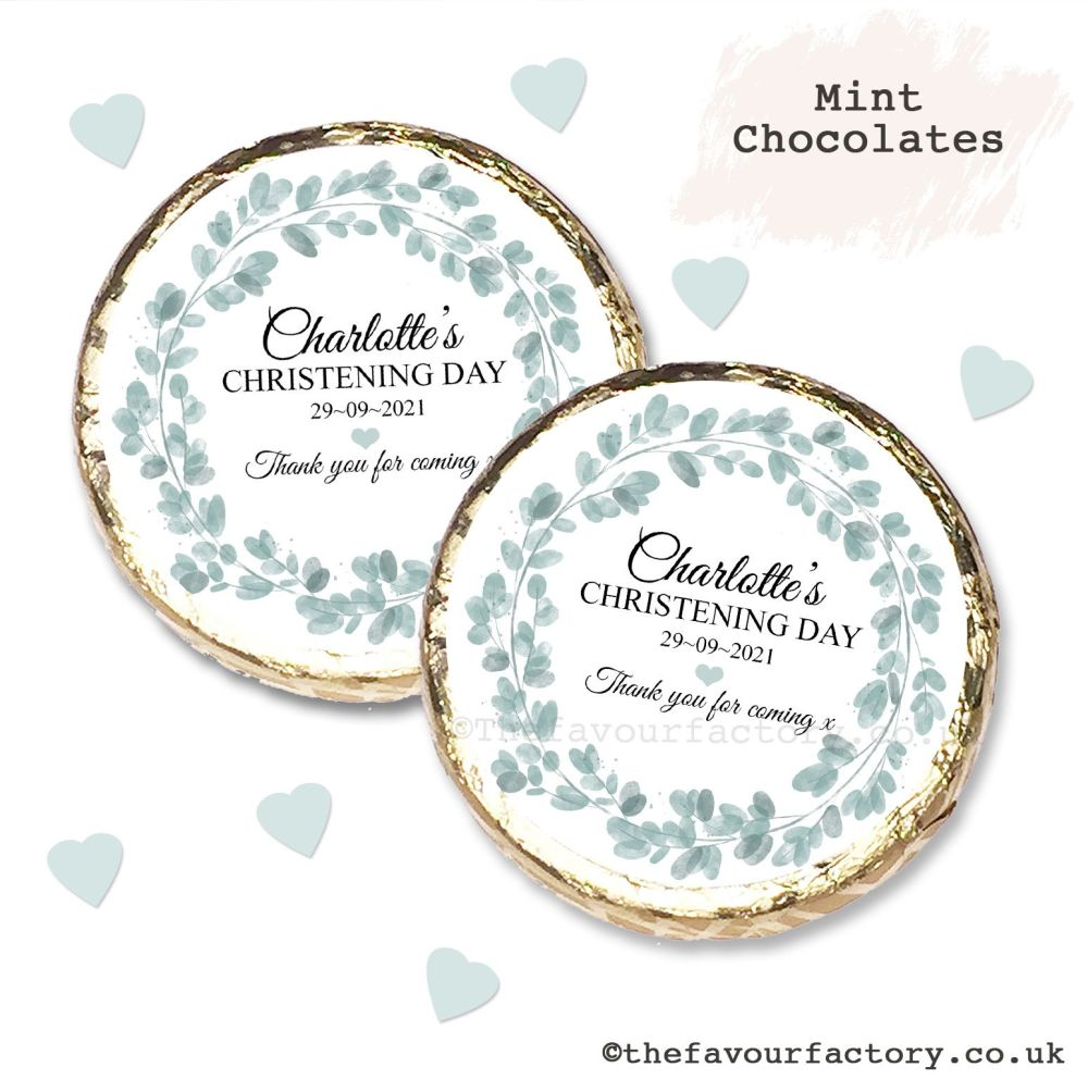 Christening Mint Chocolates Personalised Eucalyptus Wreath x10