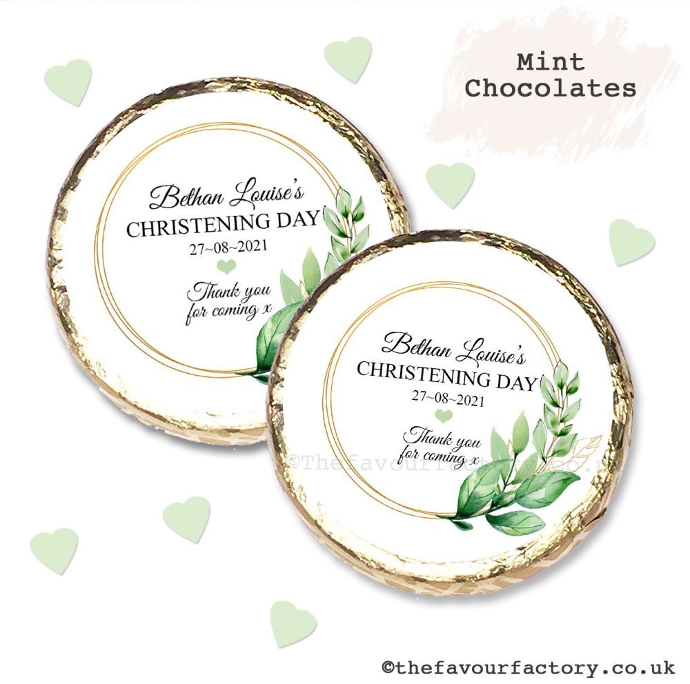 Christening Mint Chocolates Personalised Gold Leaf Frame x10