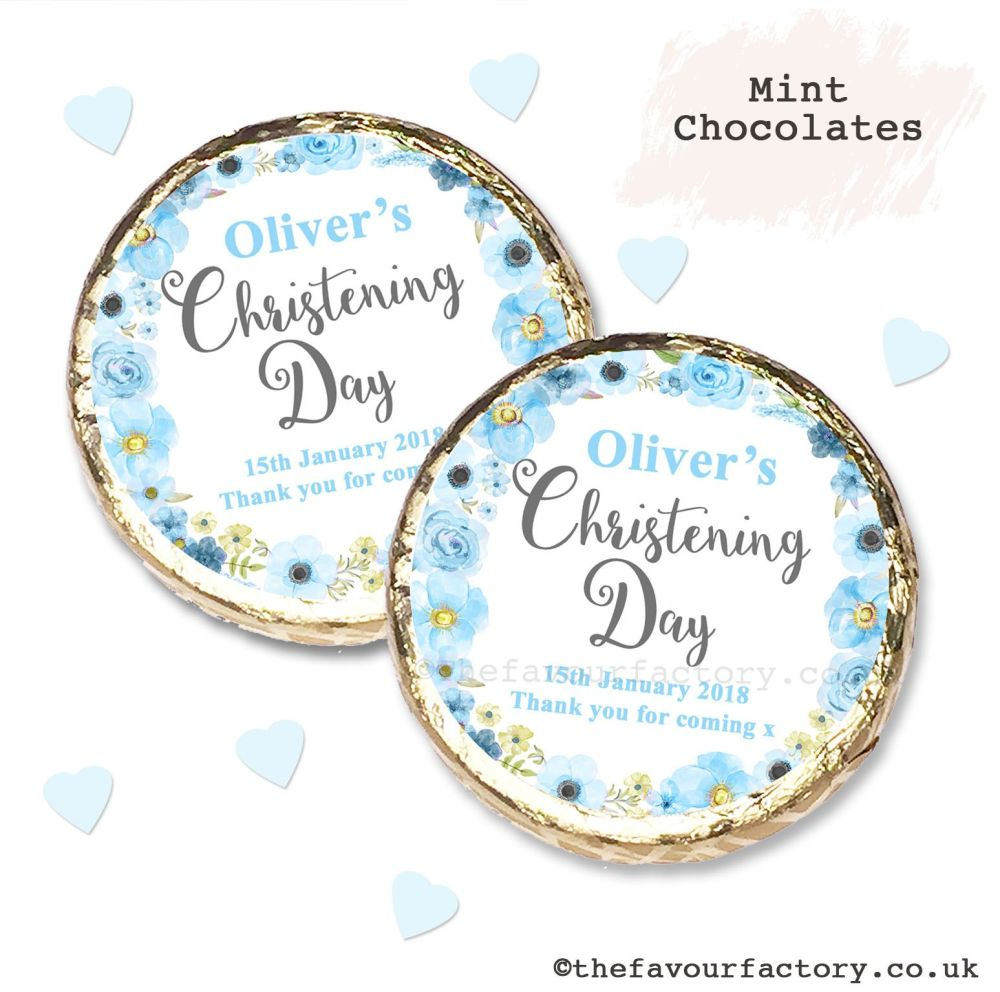 Christening Mint Chocolates Personalised Blue Floral Wreath x10