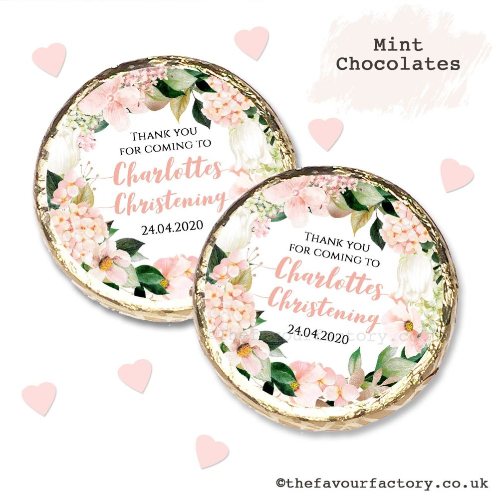 Christening Mint Chocolates Personalised Blush Hydrangeas x10