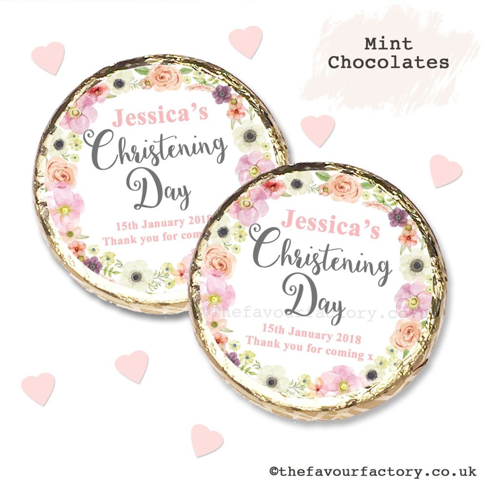 Christening Mint Chocolates Personalised Blush Floral Wreath x10