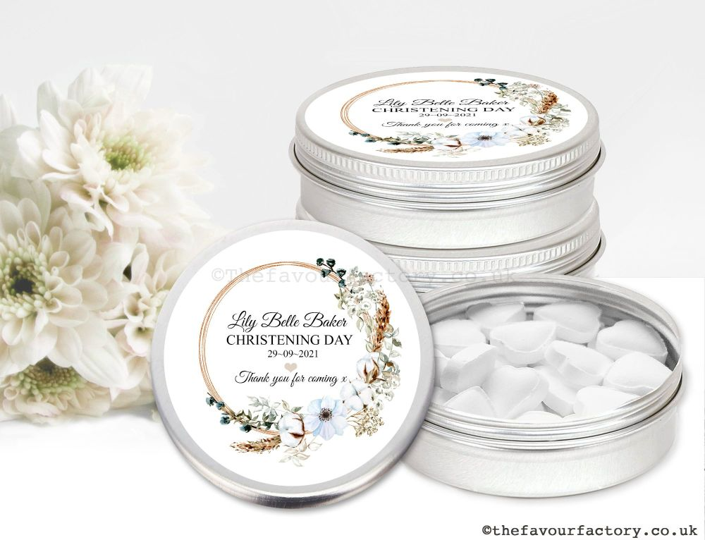 Christening Favour Tins Bohemian Floral Wreath x1