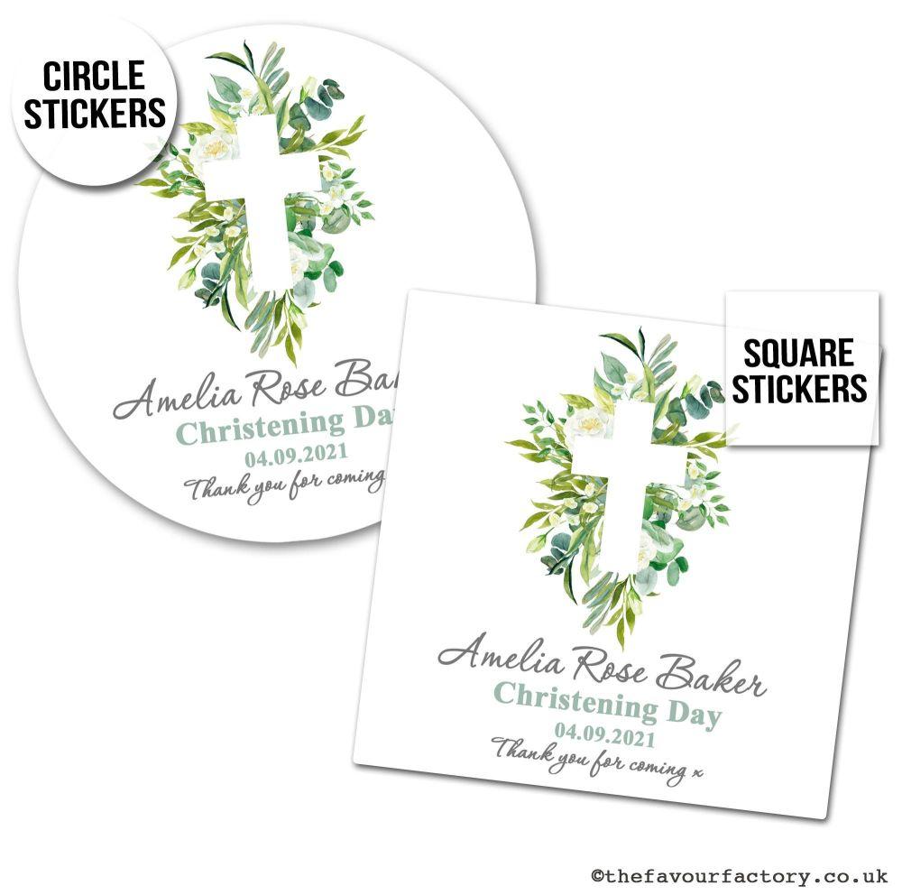 Christening Stickers Botanical Cross 1x A4 Sheet.