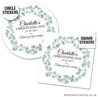 Christening Stickers Eucalyptus Wreath 1x A4 Sheet.