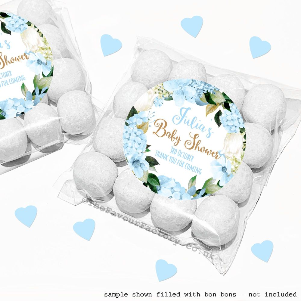 Baby Shower Sweet Bags Kits Blue Hydrangeas x12