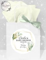 Baby Shower Party Bags Gold Geometric Botanical Frame x1