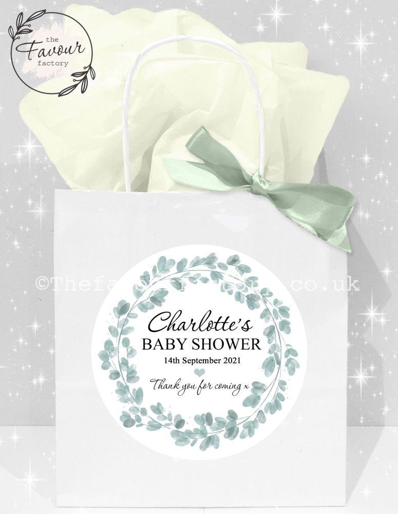 Baby Shower Party Bags Eucalyptus wreath x1